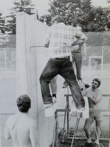 Bauarbeiten Ballwand